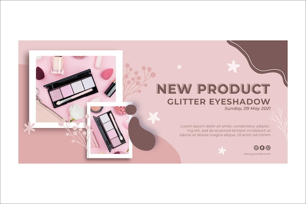 Novo banner de produto de maquiagem com glitter