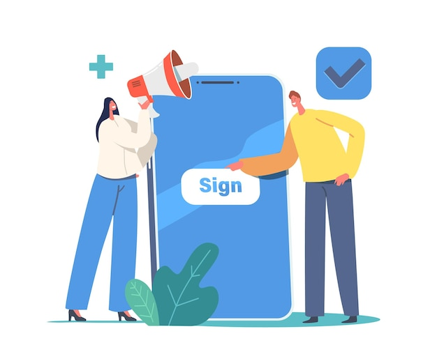 Novo cadastro online de usuário e conceito de inscrição. personagens minúsculos se inscrevendo em um smartphone enorme com senha segura e login para conta. aplicativo móvel, acesso à web. ilustração em vetor desenho animado