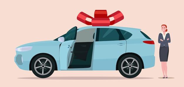 Novo carro cuv como um presente e uma mulher. ilustração do estilo simples.