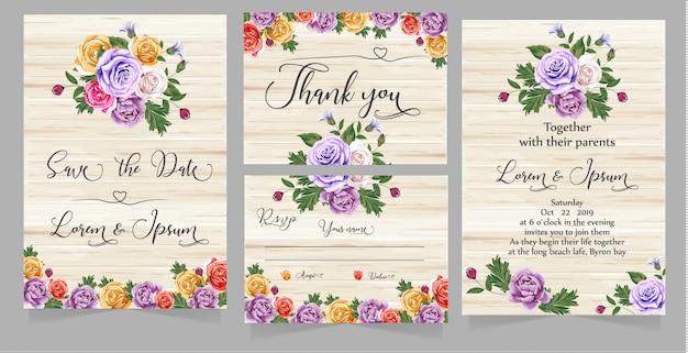 Novo cartão de convite em aquarela de casamento moderno
