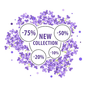Novo cartaz de coleção com flores lilás e adesivos de desconto