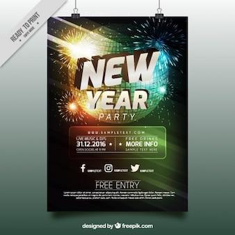 Novo cartaz do partido do ano com esfera do disco