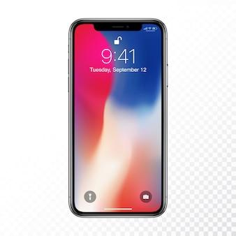 Novo conceito de design de smartphone moderno e realista i telefone x ilustração de mockup de objetos vetoriais