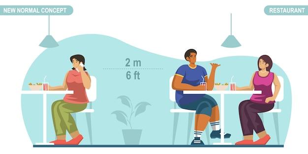 Novo conceito de distanciamento social normal. pessoas sentadas em um restaurante público, mantendo distância para se proteger do covid-19 coronavirus. escalável e editável.