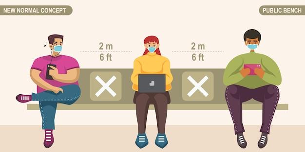 Novo conceito de distanciamento social normal. pessoas usando máscara médica, sentadas no banco público e mantendo distância para se proteger do coronavírus covid-19. escalável e editável.
