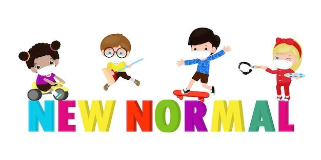 Novo conceito de estilo de vida normal após o surto do coronavírus, crianças com brinquedos usando máscaras médicas e distanciamento social. desenhos de personagens isolados no fundo branco, desenho de ilustração