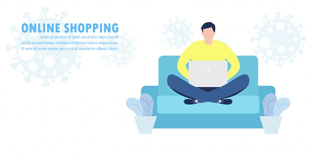 Novo conceito de estilo de vida normal, compras on-line no site e mídias sociais, comércio eletrônico no aplicativo móvel efeito de distância social do surto de coronavírus covid-19 ilustração de loja e loja.