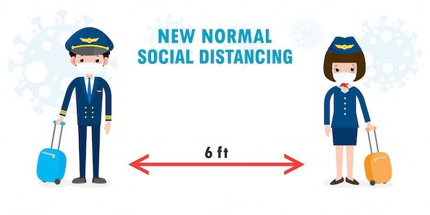 Novo conceito de estilo de vida normal. distanciamento social, piloto e aeromoça usando máscara facial protegem o coronavírus covid-19, oficiais e comissários de bordo piloto e aeromoça isolados no fundo branco