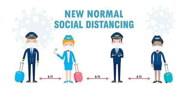 Novo conceito de estilo de vida normal. distanciamento social, piloto e aeromoça usando máscara facial protegem o coronavírus covid19, oficiais e comissários de bordo piloto e aeromoça isolados no fundo branco