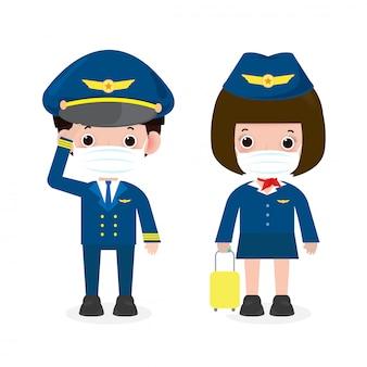 Novo conceito de estilo de vida normal. piloto e aeromoça vestindo máscara facial proteger coronavírus covid-19, oficiais e comissários de bordo piloto e aeromoça isolado na ilustração de fundo branco