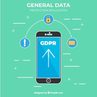 Novo conceito de gdpr com smartphone