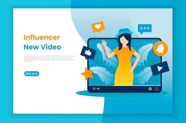 Novo conceito de ilustração de influenciadores de gravação de vídeo