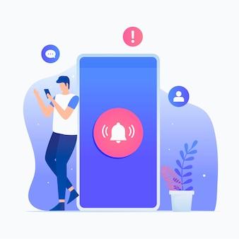 Novo conceito de ilustração plana de notificação