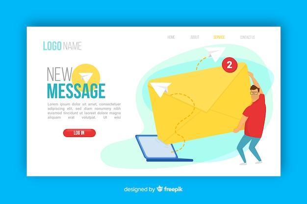 Novo conceito de mensagem para a página de destino