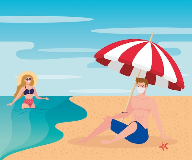 Novo conceito de praia normal de verão após coronavírus ou covid 19, casal usando máscara médica