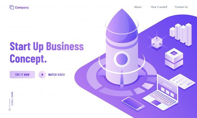 Novo conceito de startup de negócios baseado em design de landing page