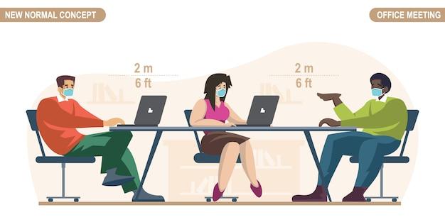 Novo conceito normal. distanciamento social na sala do escritório. pessoas escritório trabalhador homem e mulheres vestindo máscara médica. mantenha distância para evitar pandemia de vírus corona ou covid-19.