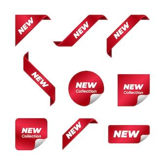Novo conjunto de design de vetor de fita de canto
