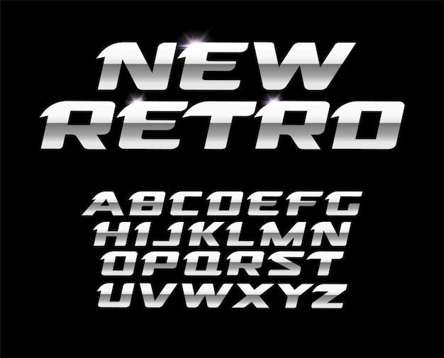 Novo conjunto de letras retrô. design de tipografia em aço polido.
