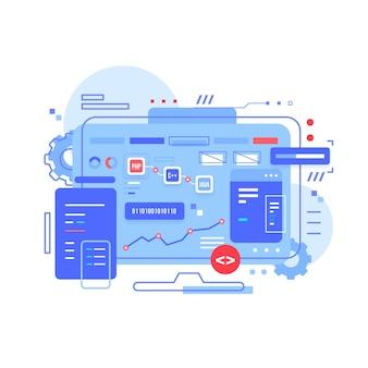 Novo desenvolvimento de aplicativo ilustrado para desktop