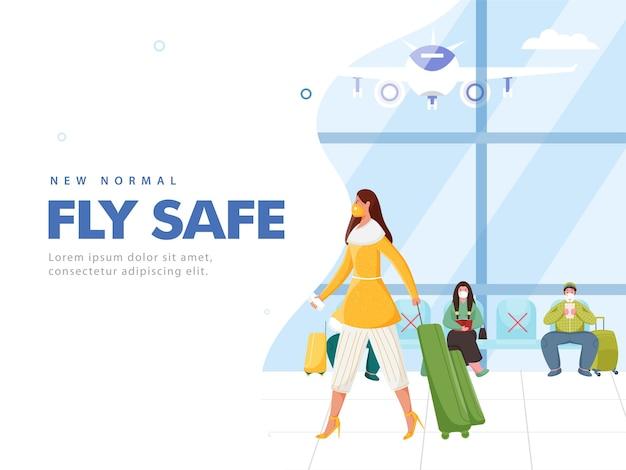 Novo design de cartaz com base no conceito normal fly safe