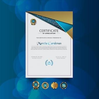 Novo design de certificado moderno abstrato