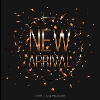 Novo design de chegada com conceito de confete dourado