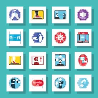 Novo design de coleção de ícones de estilo detalhado normal do vírus covid 19