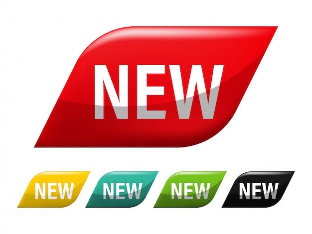 Novo design de distintivo de rótulo de bandeira de marca.