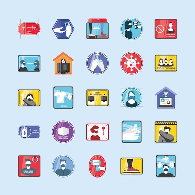 Novo design de grupo de ícones de estilo detalhado normal do vírus covid 19