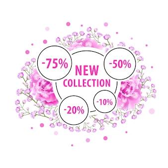 Novo design de rótulo de coleção com flores cor de rosa, pontos e adesivos de desconto.