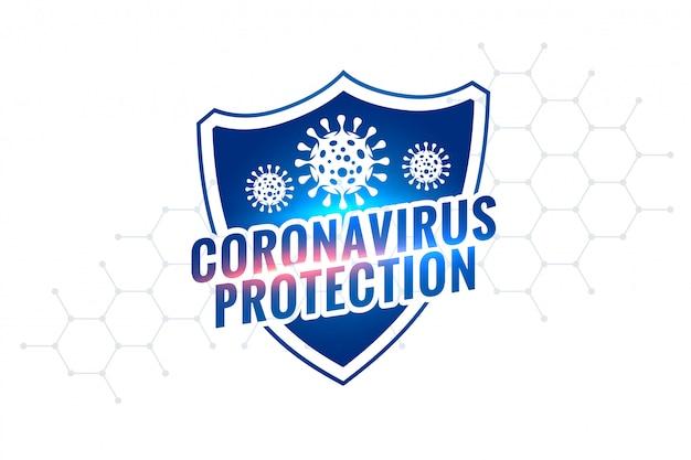 Novo design de símbolo de escudo de proteção de coronavírus covid-19