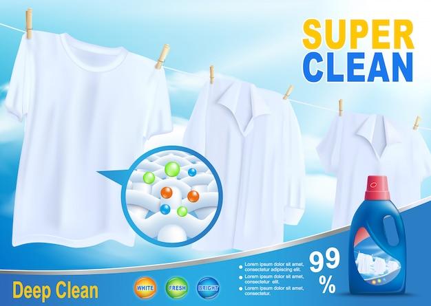 Novo detergente para a promoção de limpeza super limpa