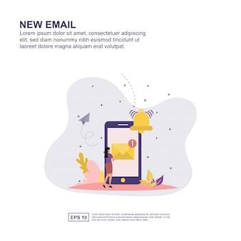 Novo e-mail conceito vector ilustração design plano para apresentação.