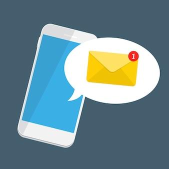 Novo e-mail no conceito de notificação de tela do smartphone