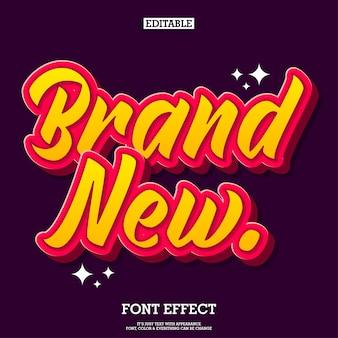 Novo efeito de texto de desenho animado para design de logotipo e título