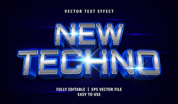 Novo efeito de texto techno, estilo de texto editável