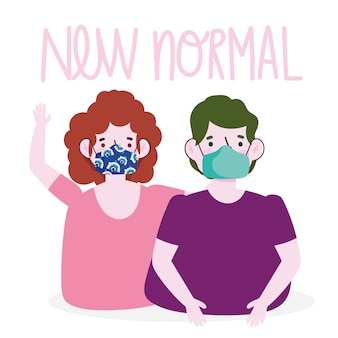 Novo estilo de vida normal, desenho de casal com máscaras médicas.