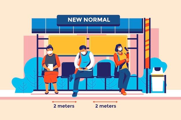 Novo estilo de vida normal distância física na parada de ônibus e na estação rodoviária