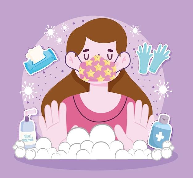 Novo estilo de vida normal, mulher com luvas de máscara, papel higiênico, desinfetante de álcool, ilustração de proteção
