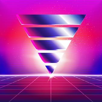 Novo fundo da onda retro. design e elementos retros de synthwave