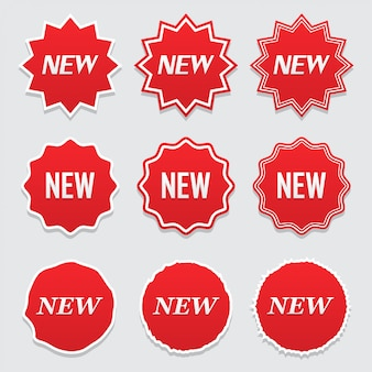 Novo ícone de etiqueta, etiqueta e etiqueta. grande conjunto