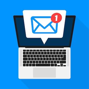 Novo ícone de mensagem na tela do laptop