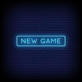 Novo jogo de sinais de néon estilo texto