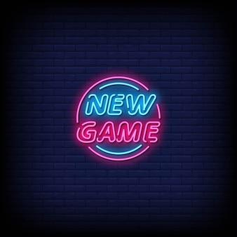 Novo jogo de vetor de texto de estilo de sinais de néon