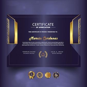 Novo modelo de certificado de conquista moderno