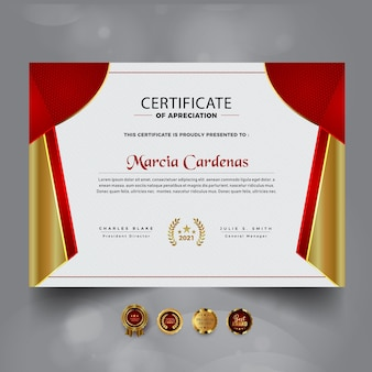 Novo modelo de certificado de conquista vermelho moderno