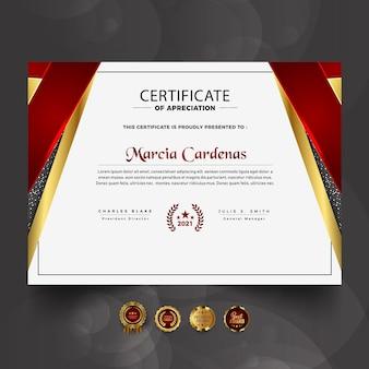 Novo modelo de certificado profissional de luxo vermelho