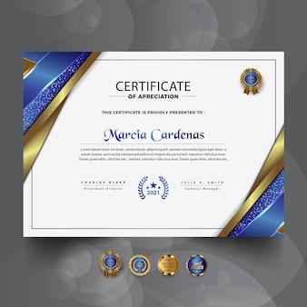 Novo modelo de certificado profissional de luxo