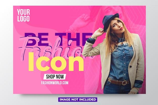 Novo modelo de design de banner de venda de moda